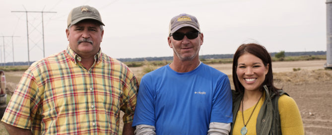 Alan Hebert and his neighbors, Chad and Rae Hill, are managing their rice and crawfish fields with NRCS-recommended conservation practices. The result: really good habitat for whooping cranes. Photo by NRCS.
